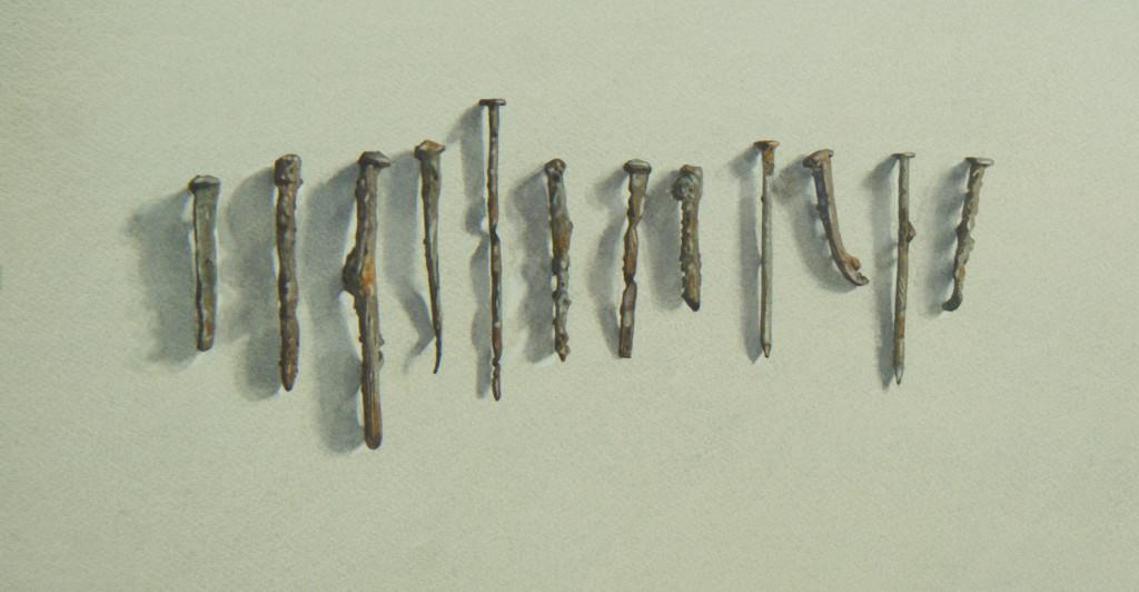 A dozen rusty nails  23 x 44cm  Watercolour by Lillias August ©