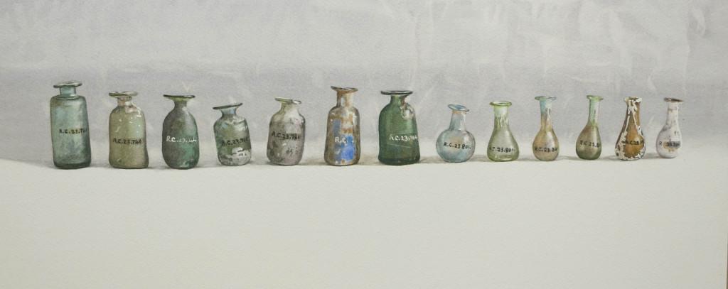 A row of  Roman bottles - 21 x 50cm