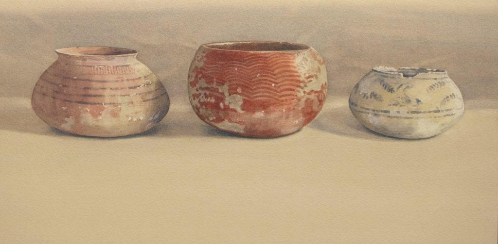 Ancient vessels 26 x 45cm watercolour