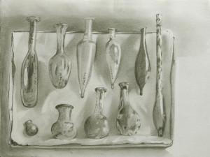 Box of Roman bottles - pencil drawing