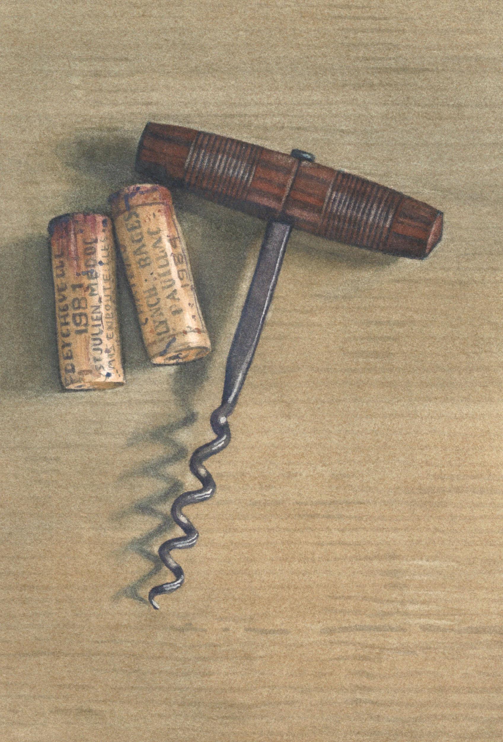 Corks and corkscrew 21 x 15cm