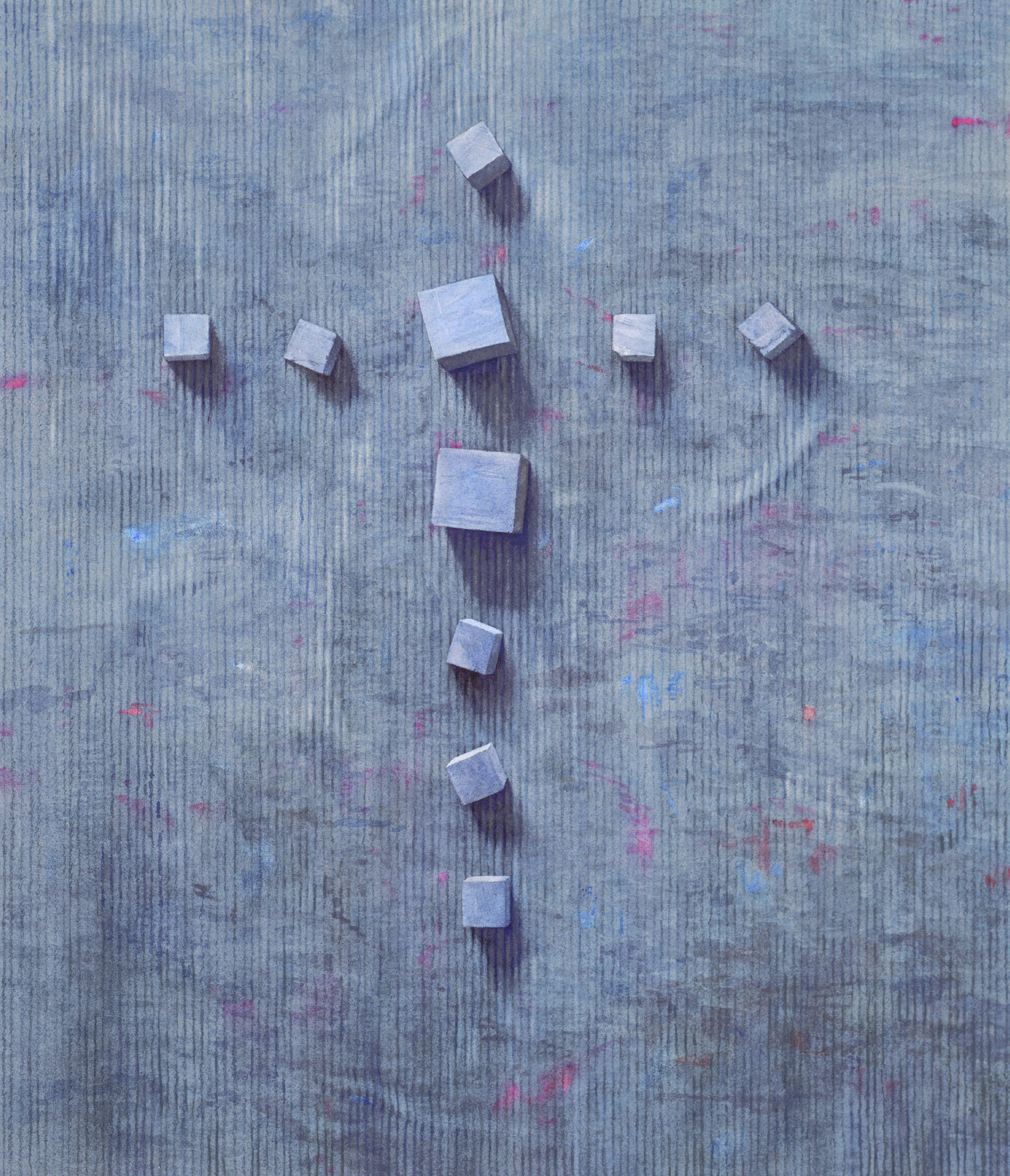 Cube Cross watercolour 59 x 51cm