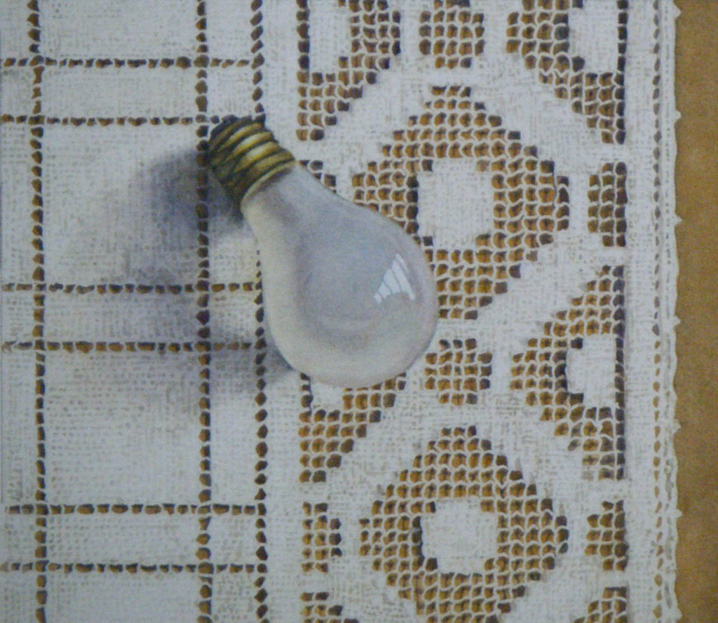Lightbulb on lace - 19.5 x 17cms