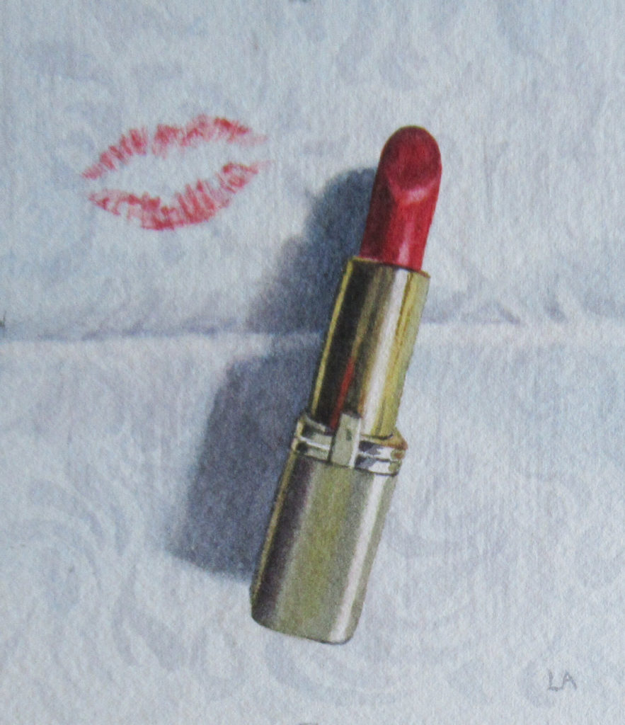 Lipstick on damask 11 x 9.5cm