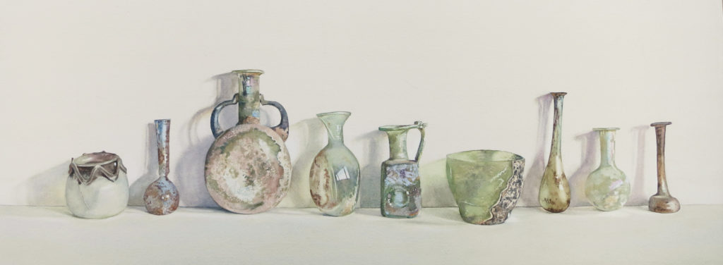 Nine Roman bottles 23.5 x 73cm