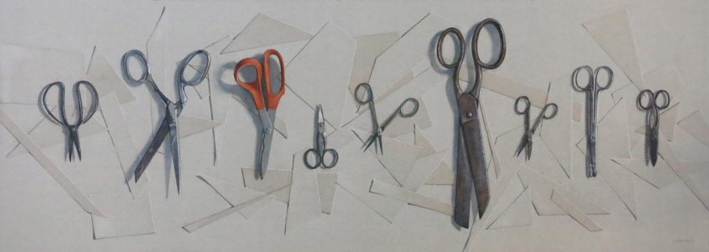 Nine scissors 39 x 96.5cm