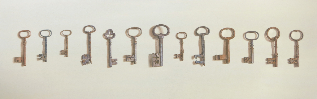 Old keys  40 x 109cm Watercolour by Lillias August ©