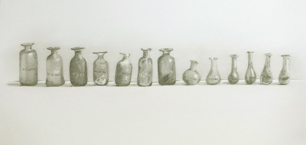 Row of Roman bottles - pencil drawing ab