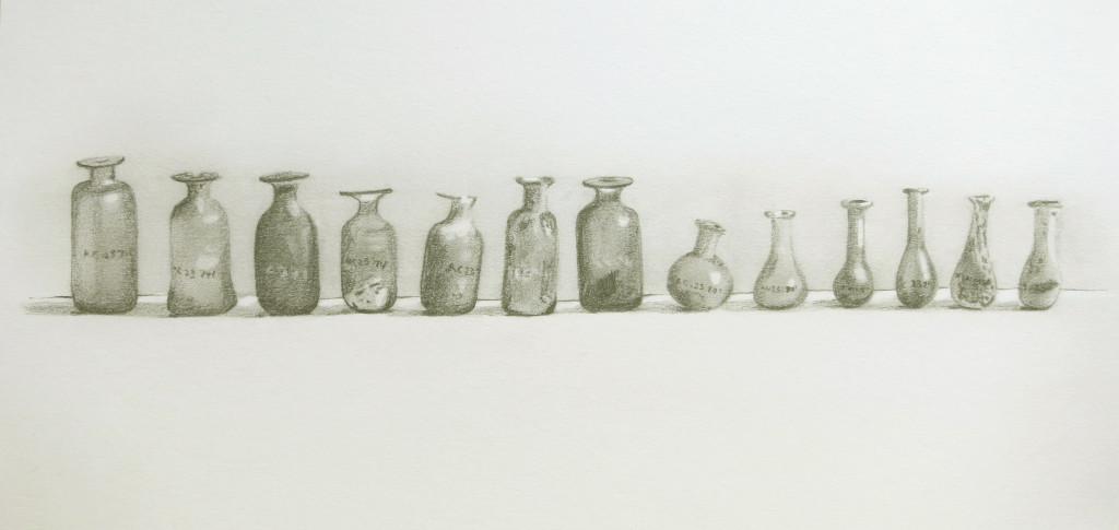 Row of Roman bottles - pencil drawing ab