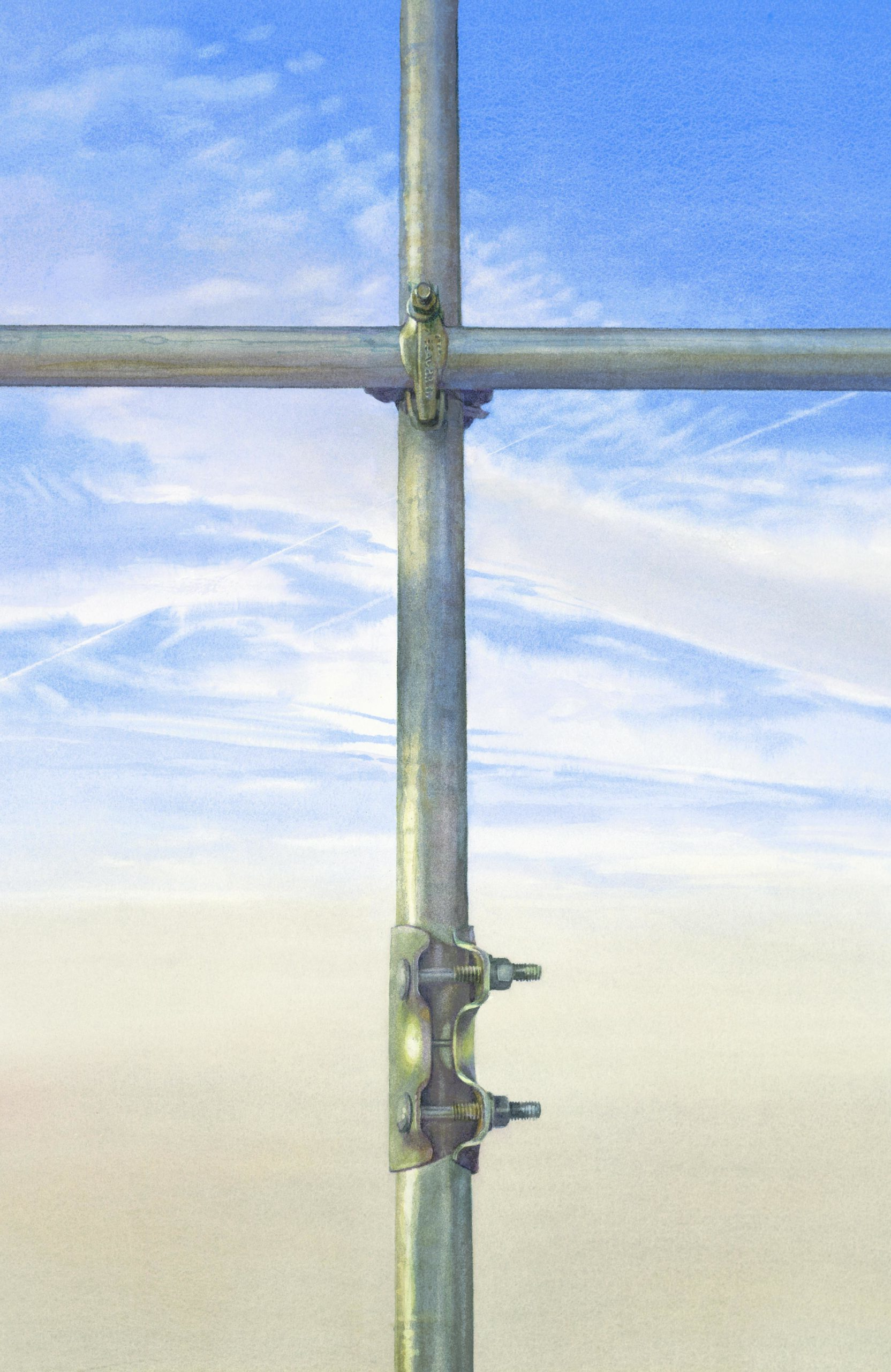 Scaffold Cross watercolour 70 x 45cm