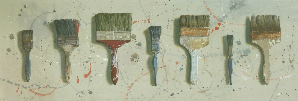 Seven brushes  40 x 109cm Watercolour by Lillias August © b