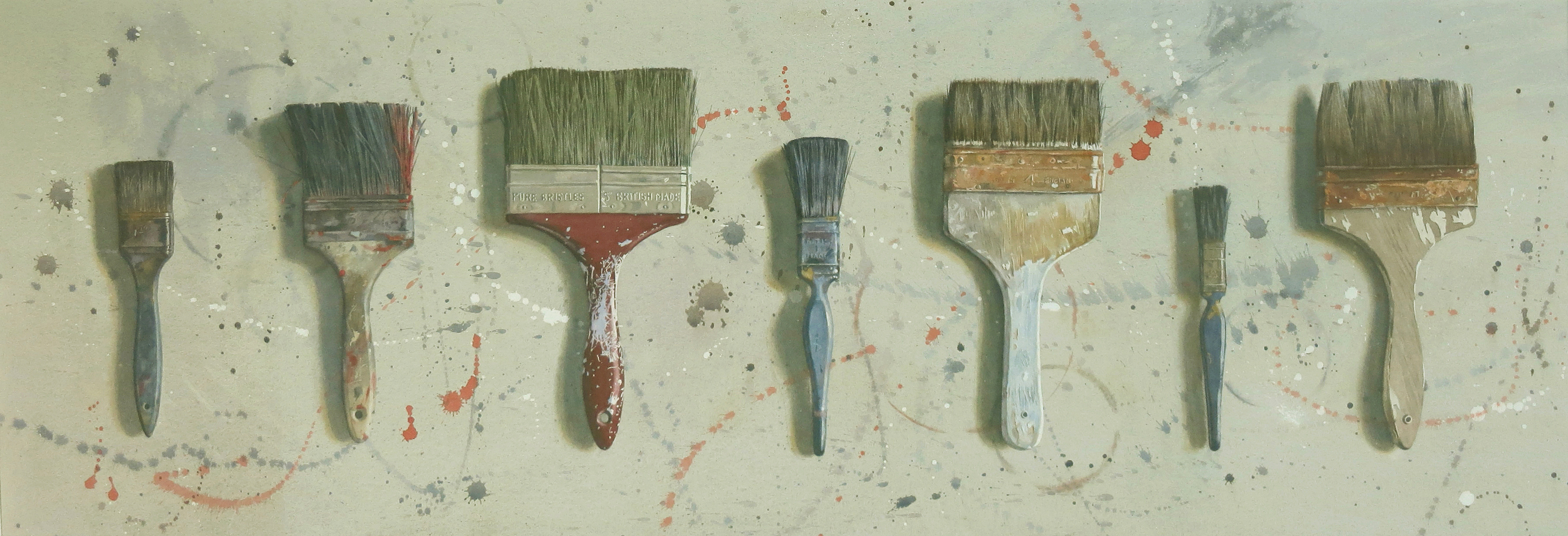 Seven brushes 40 x 109cm Watercolour by Lillias August ©