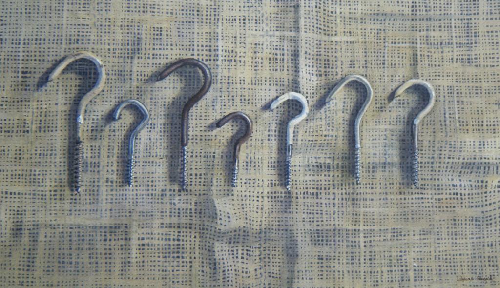 Seven hooks on sacking  -  20 x 34cm