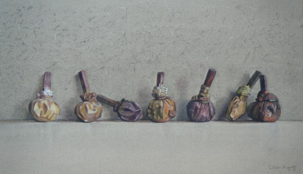 Seven paint bladders  19 x 33cm  Watercolour by Lillias August ©