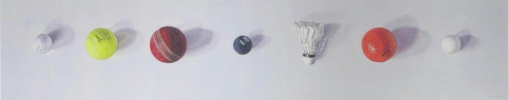 Six balls and a shuttlecock 21 x 110cm