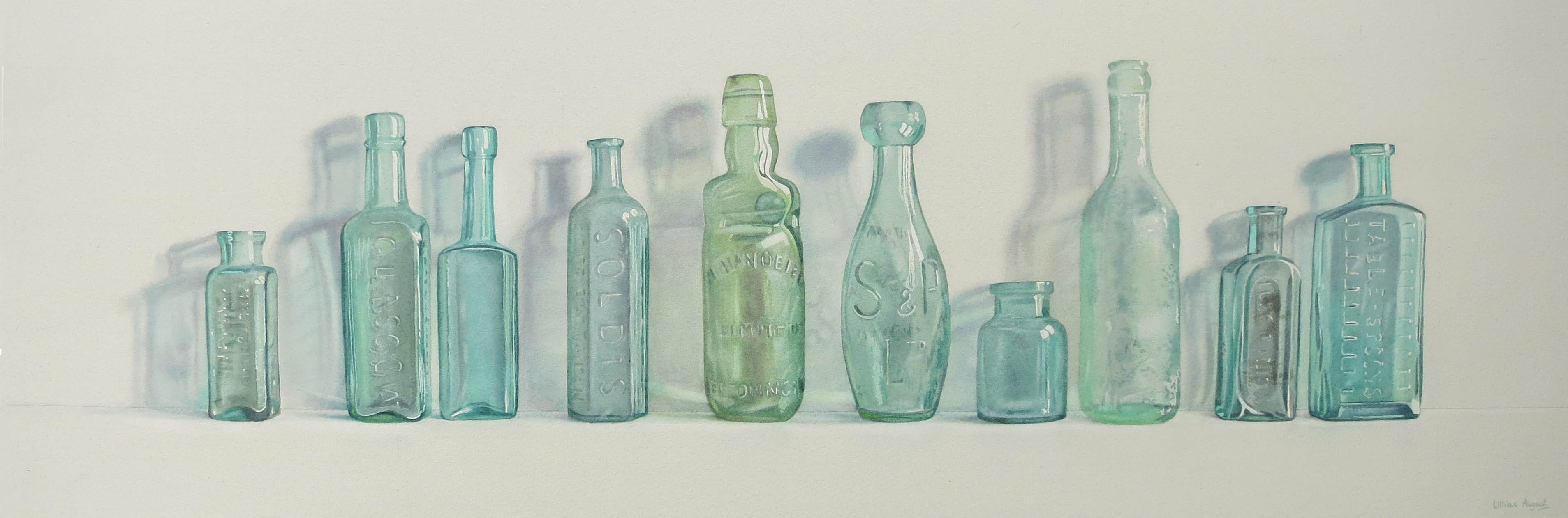 Ten green bottles 30 x 89cm Watercolour by Lillias August ©