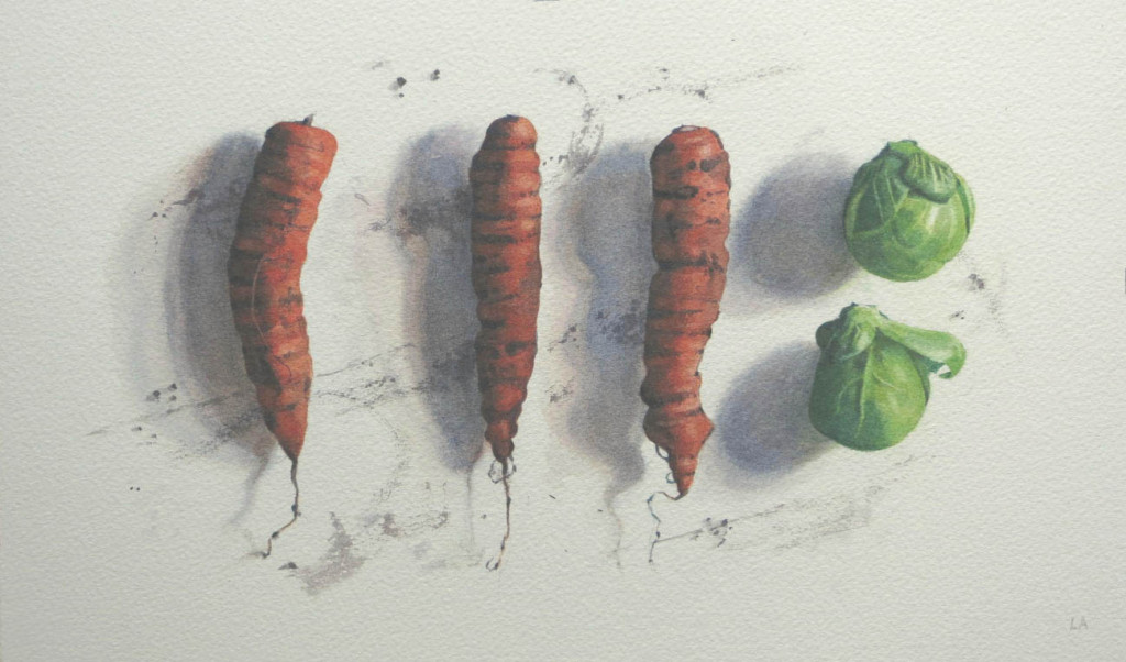 Three carrots and a couple of sprouts  -  18 x 32cm