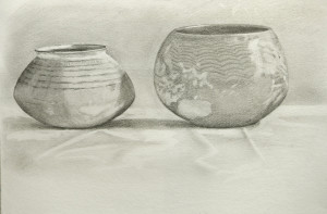 Two stone age pots - pencil drawing